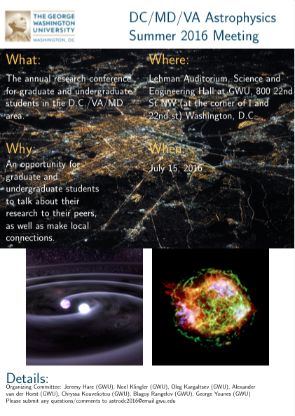 The 4th Annual DC/VA/MD Summer Astrophysics Meeting