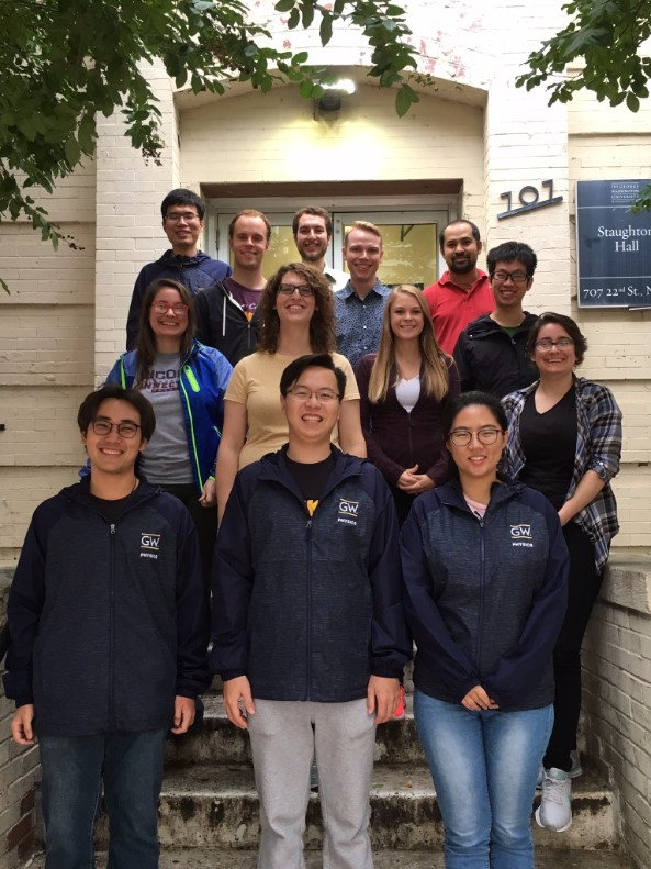 First year graduate students. Front row (left to right): Hao Wang, Ziying Jia, Yuexin Pan. Middle row: Isabella Illari, Sarah Chastain, Alyson Barker, Lucia Illari. Rear row: Xin Wang, Brennan O'Connor, Michael Moss, Grant Mitchell, Manoj Jamarkattl, Gexing Jiang.