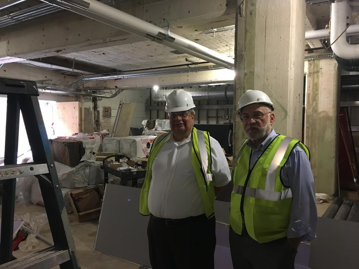 Dr. Briscoe and Dr. Haberzettl tour the Corcoran renovations nearing completion.