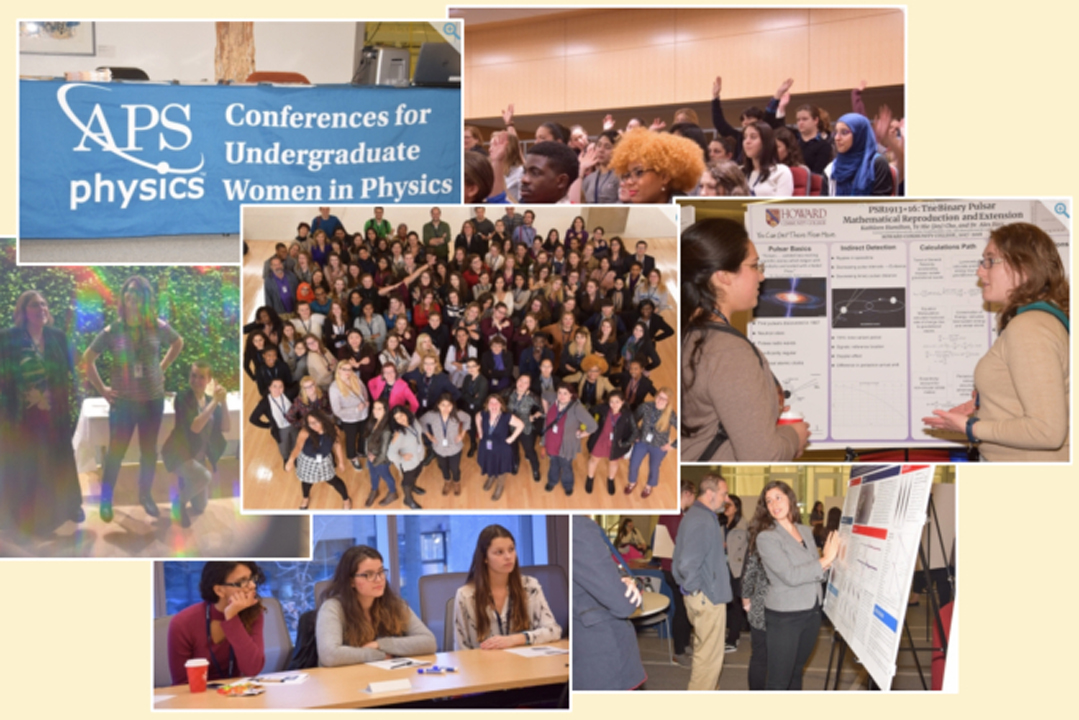 Collage of 7 photos from the APS Conference for Undergraduate Women in Physics 2018 that was hosted at GW.