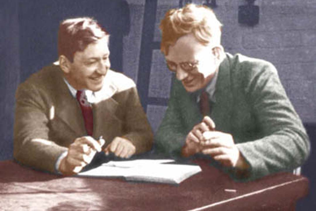 George Gamow and John Cockcroft at Cavendish Laboratory.