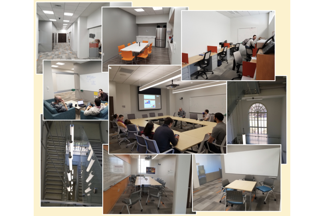 A collage of 9 photos of newly renovated classroom and hallway spaces in Corcoran Hall set on a cream colored background.
