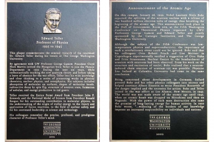 Photo of two bronze plaques side by side, the first dedicated to Dr. Edward Teller and the second to the Atomic Age.